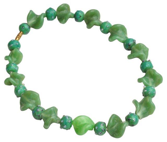 Green Murano Trade Bead Necklace