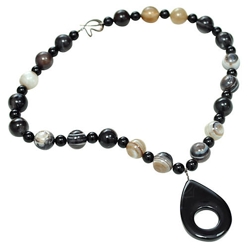 Banded Agate Marble Necklace