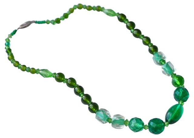 Deco Green Crystal Necklace