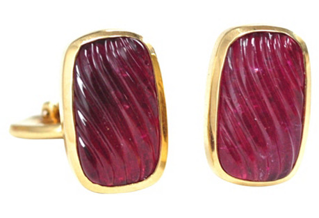 David Yurman Tourmaline 18K Cuff Links