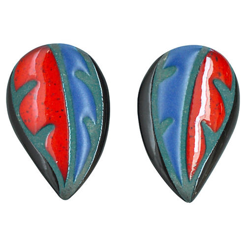 Glazed Ceramic Leaf Earrings
