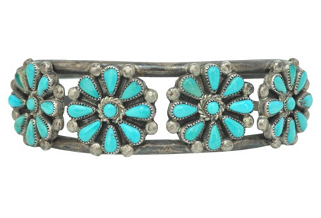 Zuni Turquoise Floral Cuff