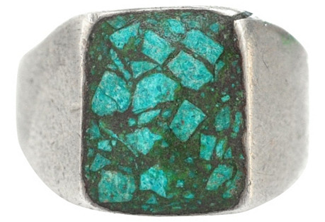 Turquoise Chip Signet Ring