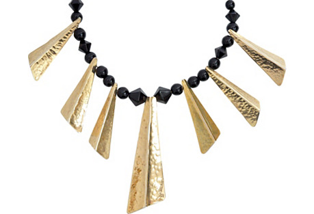 Black & Gold Fanning Necklace