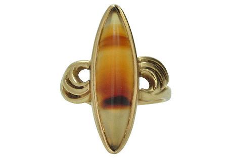 14k Banded Agate Ring