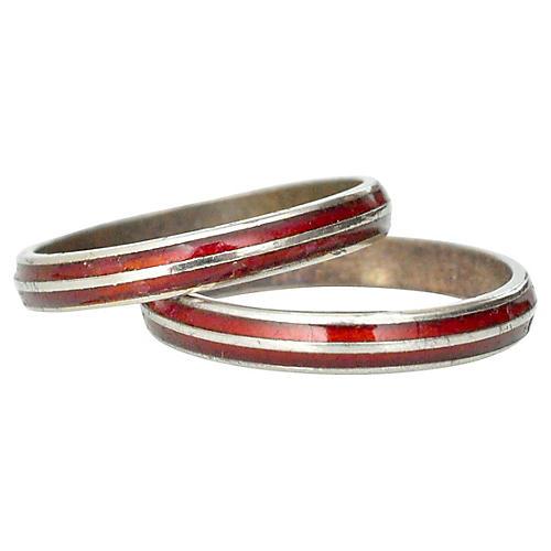 Enamel Rings, Pair