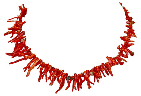 14k Gold, Red Branch Coral Necklace
