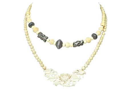 Indian Carved Bone Necklace Set