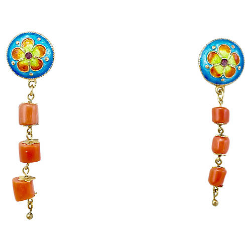 Chinoiserie Enamel & Coral Earrings