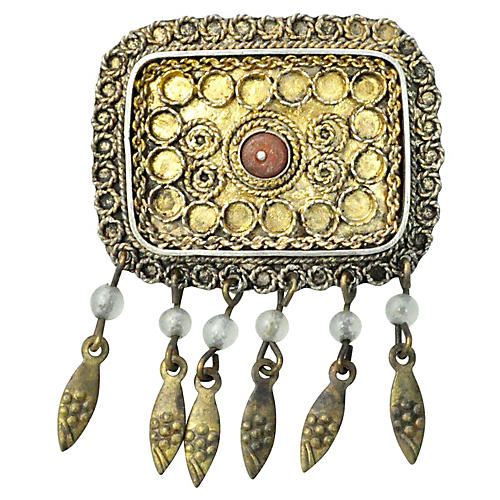 Israeli Gold Vermeil and Coral Brooch