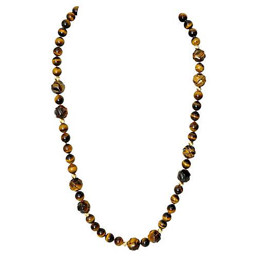 Tiger's Eye & 14K Gold Necklace