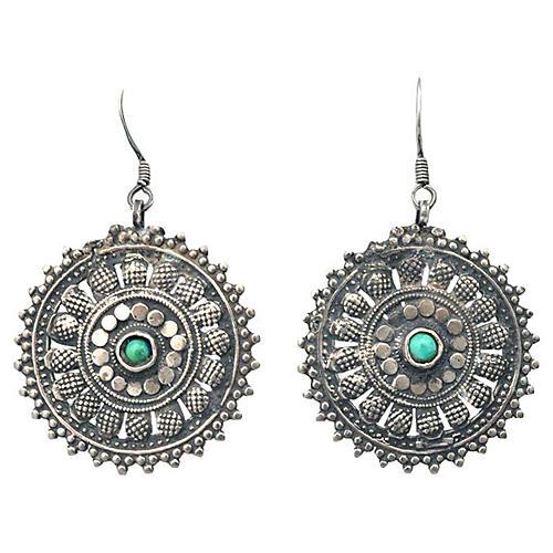 Silver & Turquoise Mandala Earrings