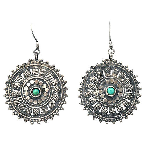 Silver & Turquoise Mandala Earrings