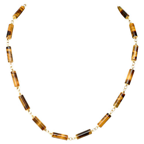 14K Gold Tigers Eye Necklace