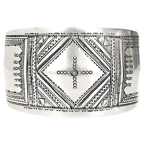Tuareg Engraved Sterling Silver Cuff