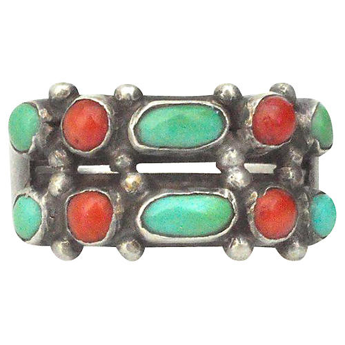1950s Turquoise and Coral Zuni Ring