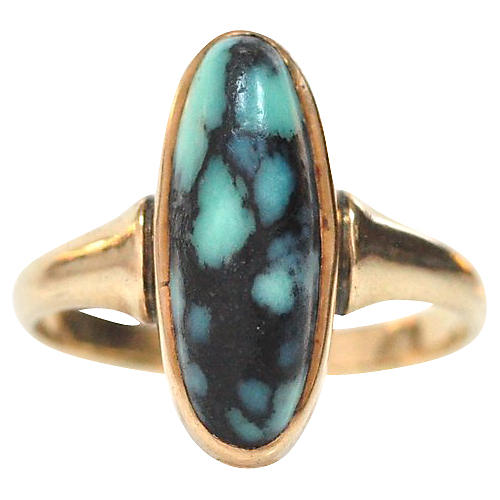 14K Gold Arts & Crafts Turquoise Ring