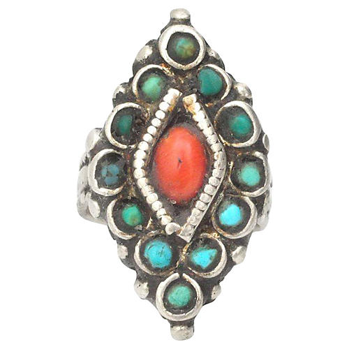 1940s Nepali Turquoise Coral Ring