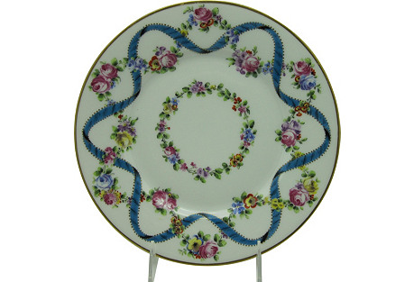 French Cabinet Plate w/Ribbon of Flowers