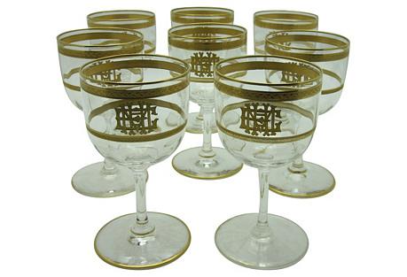 C. 1890 French Wineglasses, S/8
