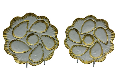 French Oyster Plates,  Pair