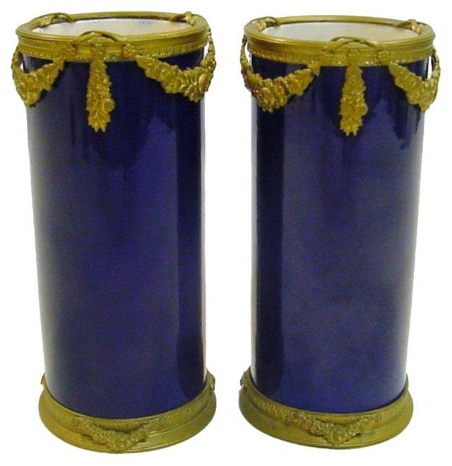 Sèvres Vases w/ Doré Bronze Mounts, Pair