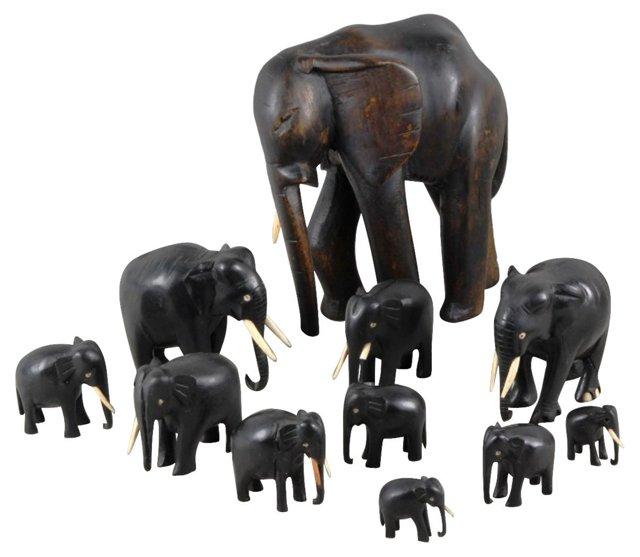 Rosewood & Ebony Elephants, 11 Pcs