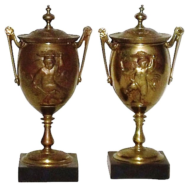 19th-C. Russian Bronze Lidded Urns, Pair