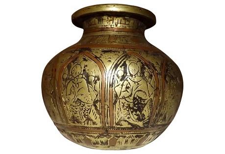 16th-C. Spanish Brass & Copper Jar