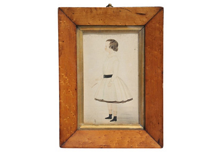 Early 19th-C. Folk Art Portrait of Child