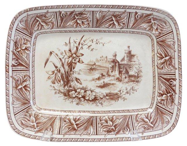 19th-C. Brown Transferware Platter