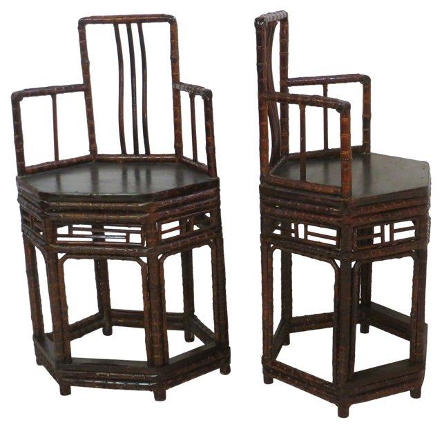 Hexagonal Bamboo Chairs,    Pair