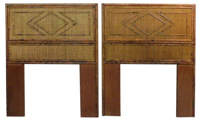 Bamboo Twin  Headboards, Pair
