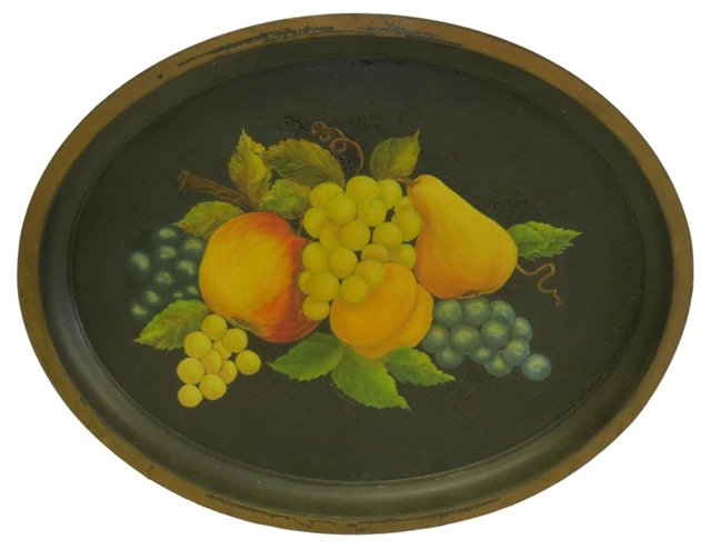 Hand-Painted Tole Fruit Tray