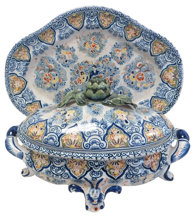 French Faience Tureen & Underplate
