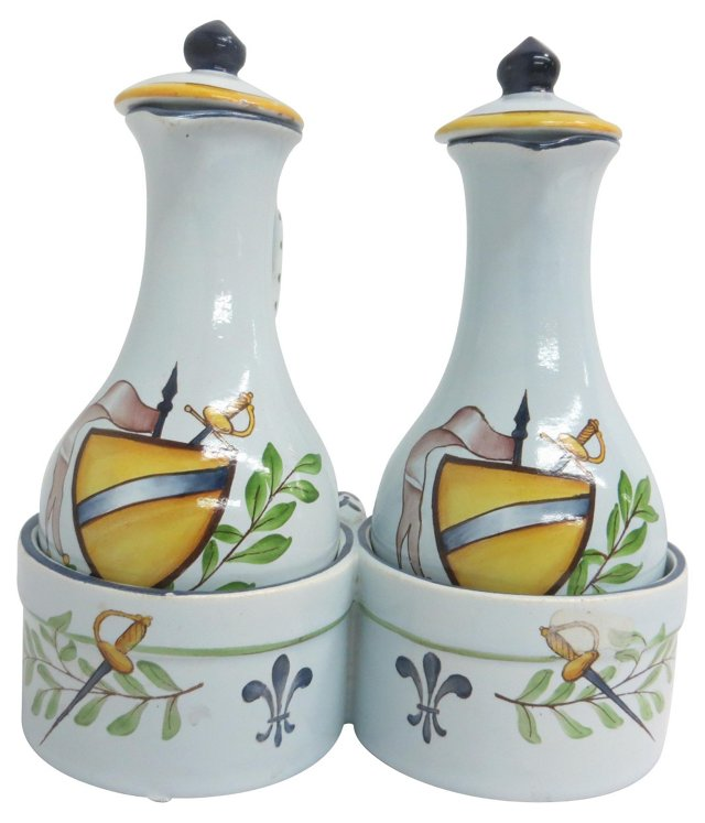French Hand-Painted Oil & Vinegar