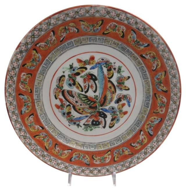 Butterfly Rose Canton Plate