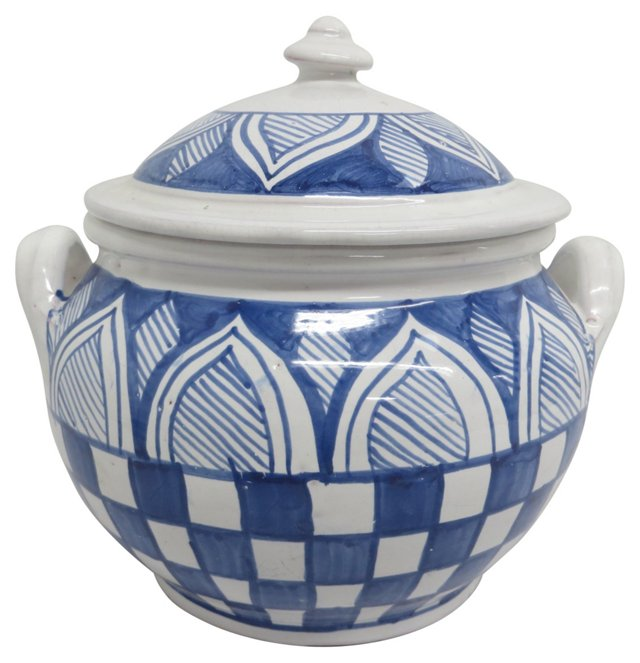 Hand-Painted Blue & White Covered Pot
