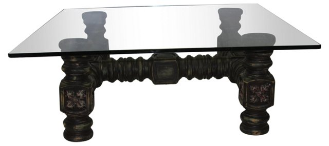 Carved Oak Table w/ Glass Top