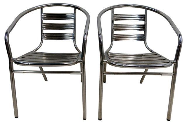 Midcentury Chrome  Chairs, Pair