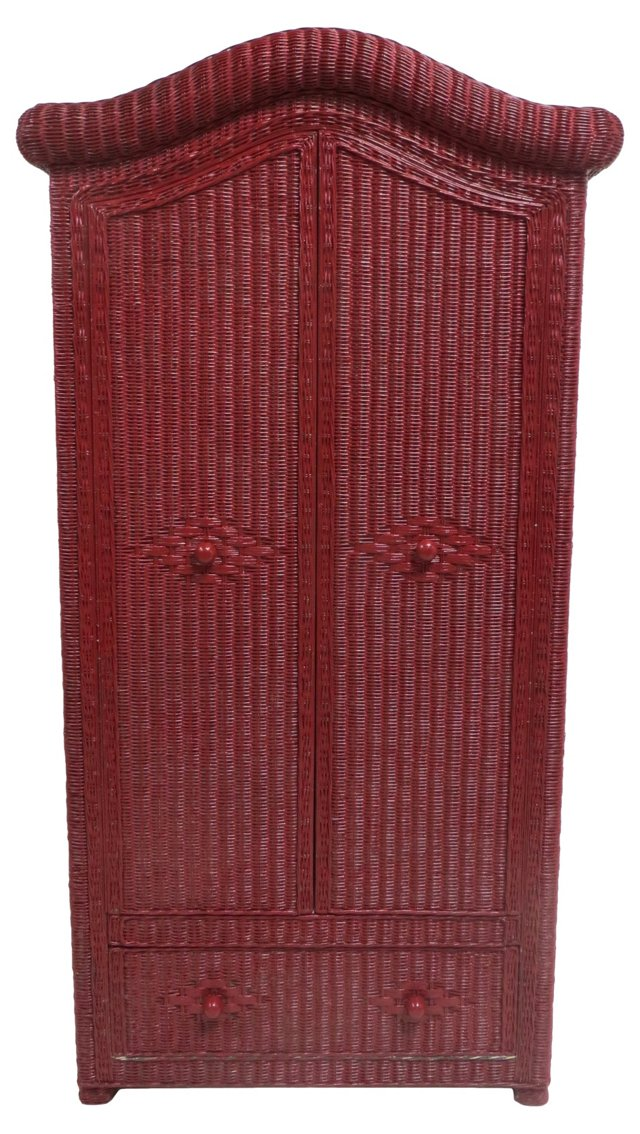 Red Wicker Armoire