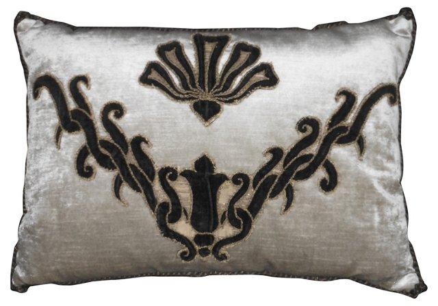 Pillow w/ Antique Velvet Appliqué