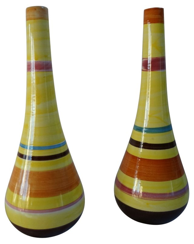 Hand-Painted Portuguese Vases, Pair