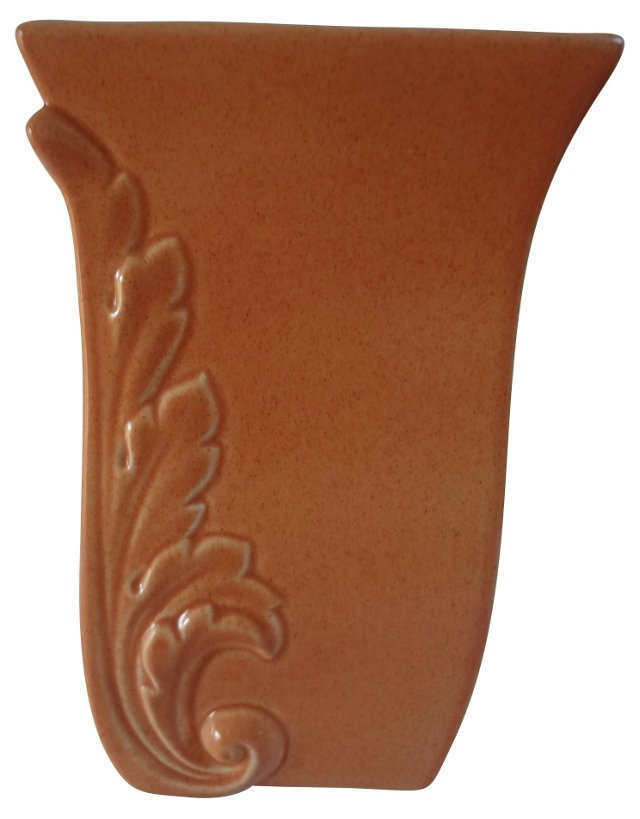 1940s Red Wing Vase w/ Acanthus Leaves