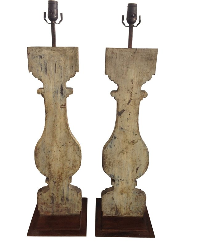 Painted Wood Lamps, Pair