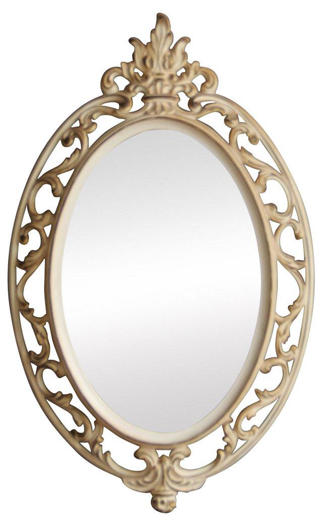 Round Ornate Cream Wall Mirror