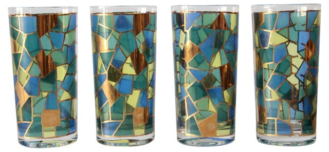 Stained Glass Pattern Glasses, Set of 4
