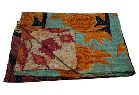 Hand-Quilted Kantha Throw