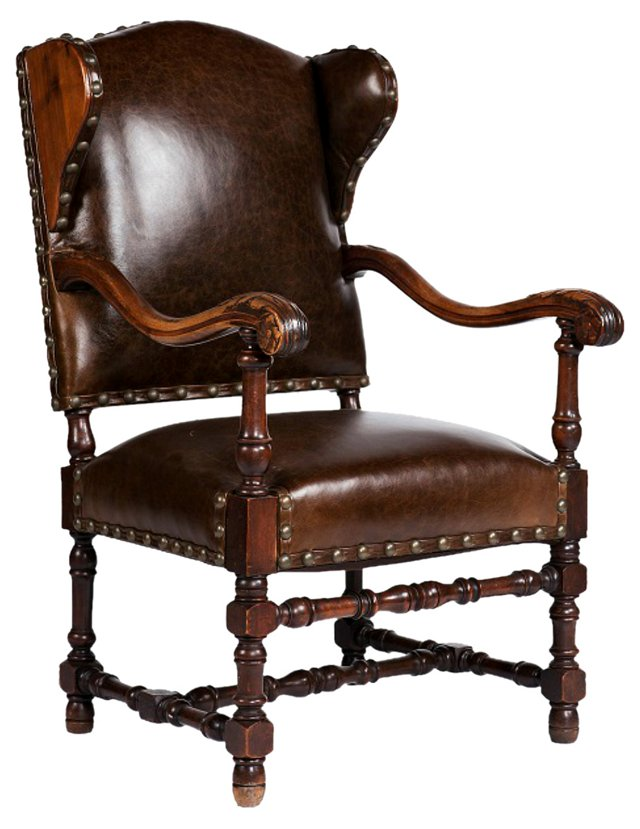 Louis XIV-Style Leather  Wingback