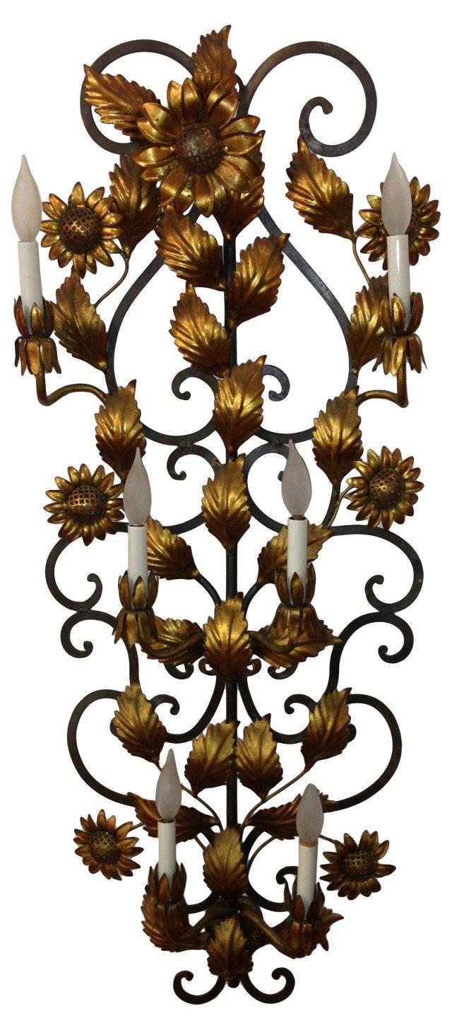 Gilt Oversize Sunflower Sconce